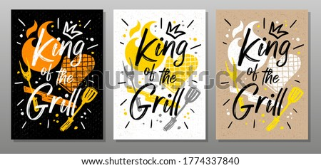 King grill, quote food poster. Cooking, culinary, kitchen, bbq, barbecue, axe, fork, knife, master chef. Lettering, calligraphy poster, chalk, chalkboard, sketch style. Vector illustration