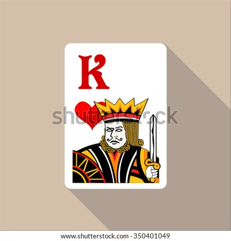 king heart casino sign icon playing card long shadow  for web and mobile applications