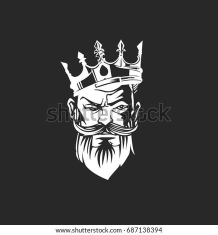 King icon with crown, beard and moustache on black background, hand draen sketch, vector illustration