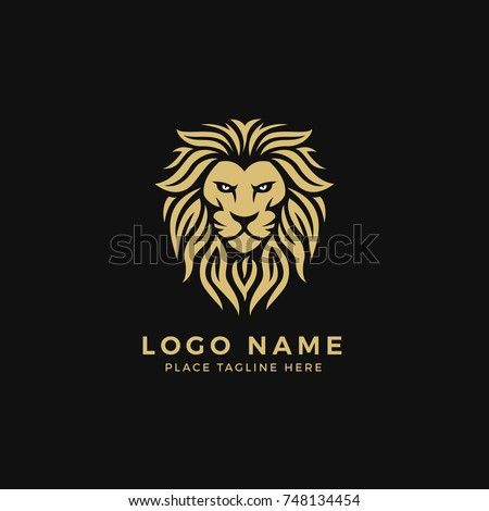 King Lion Head Logo Template, Lion Strong and Gallant Face with Bushy Hairy and Eye Glare Logo Golden Royal Premium Elegant Design, Brand Identity, Icon, Badge, Sticker, Emblem