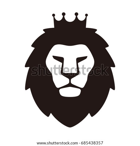 king lion  wearing crown  flat