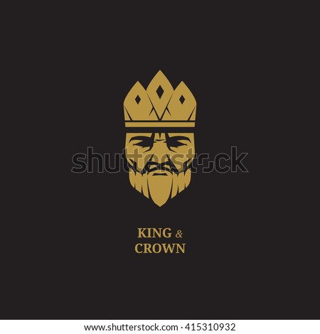 king logo royal luxury face and crown icon business fantasy emblem badge golden