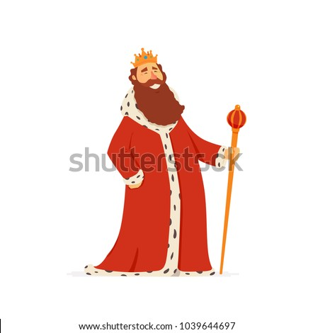 King - modern vector cartoon people characters illustration isolated on white background. An image of a smiling monarch in a royal mantle with a golden scepter and a crown