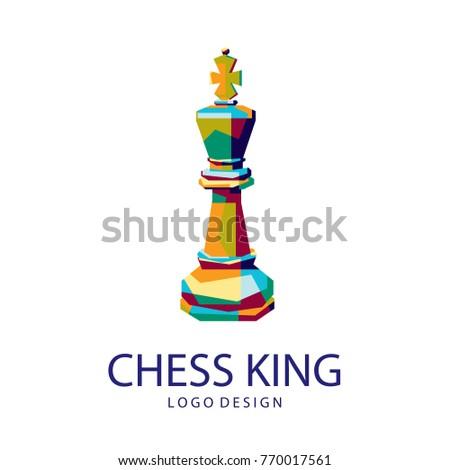 king of chess Logo. chess icon logo. colorfully logo