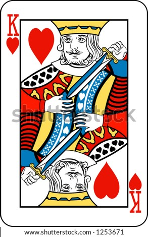 King of hearts from deck of playing cards, rest of deck available.