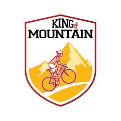 King of Mountains (KoM). best road cycling mountain climber. cyclist climb hill with mountain backround badge. vector illustration