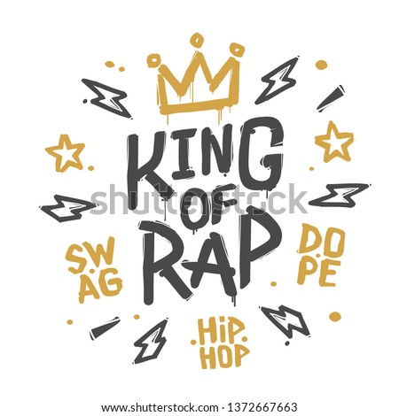 King of rap graffiti street art Crown tag vector illustration. Fashion hip hop hand drawn design for print tee, t-shirt and street wear. King Rap with grunge Crown isolated from white