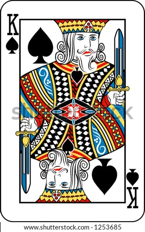 King of spades from deck of playing cards, rest of deck available.
