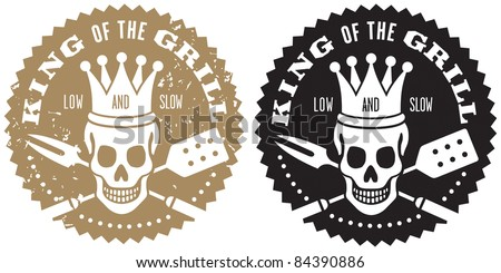 King of the Grill Barbecue Logo Fun barbecue image with crowned skull over crossed barbecue utensils. Includes grunge/stamp/stencil version and clean version.