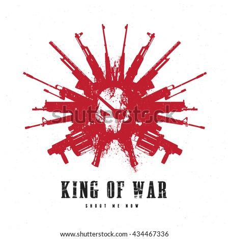 king of war logo skull and gun