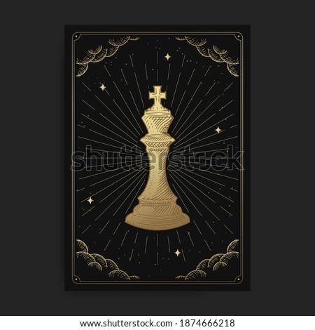 King or emperor. Magic occult tarot cards, Esoteric boho spiritual tarot reader, Magic card astrology, drawing spiritual or meditation posters.