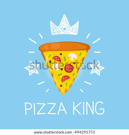 king pizza vector cartoon flat