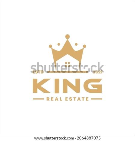 King Queen Crown House Real Estate Premium Apartment Building Luxury Elegant logo design in gold color