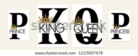 King,Queen, Prince and Princess. Mom, dad, little sister, brother, daughter, son - set of family crown design. Black text isolated on white. Printable: t-shirt, pillow, mug, cup, sweatshirt, pajamas ストックフォト ©
