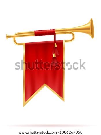 king royal golden horn vector illustration isolated on white background