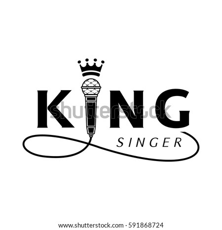 king singer logo design with microphone and crown