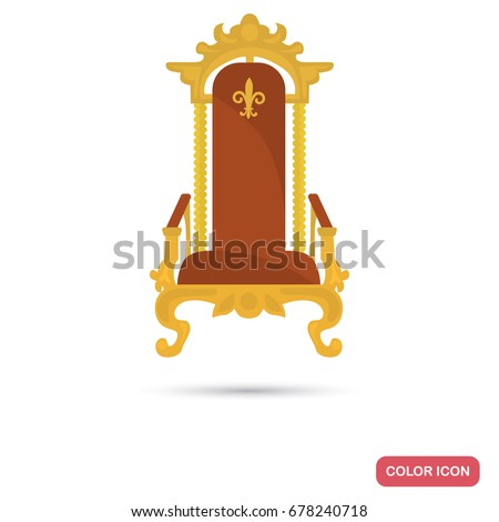 King throne color flat icon for web and mobile design