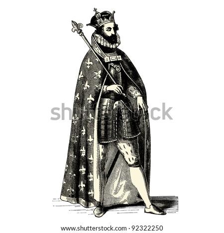 King - vintage engraved illustration -