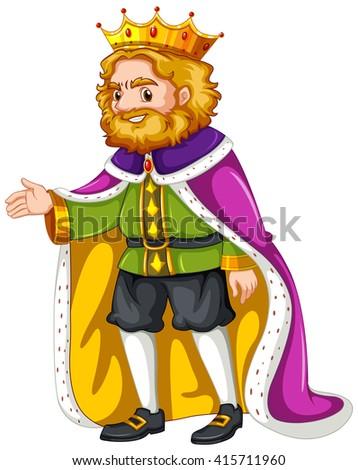 King wearing purple robe illustration