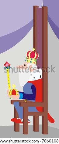 King with a crown on his head, sitting on a throne, holding a specter and an apple - funny color cartoon illustration