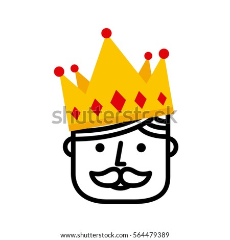 king with crown icon over white background. colorful design. vector illustration