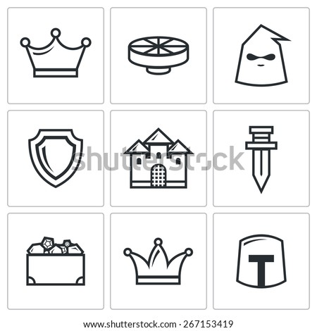 kingdom icons  king round table