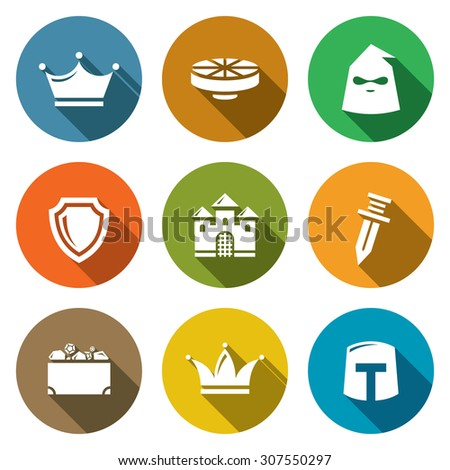 kingdom icons set vector