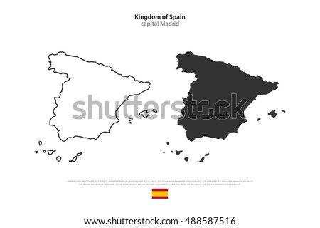 kingdom of spain isolated map
