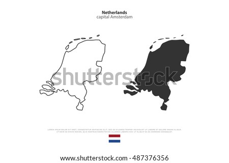 Kingdom of the Netherlands isolated map and official flag icons. vector Dutch political maps icons. EU geographic banner template. travel and business concept maps