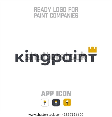 KINGPAINT is logo for paint companies. last letter T has crown which symbolize king and also crown+T together sybolize brush. Stock fotó ©