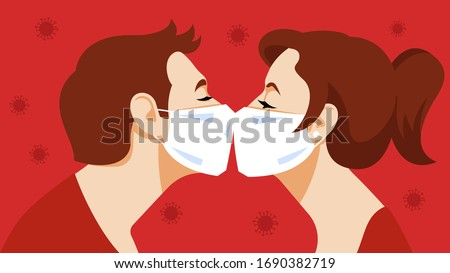 Kiss. Couple kisses in a medical mask. Love and tenderness in pandemic mode. Young guy, young beautiful girl, kiss, relationship, intimacy. Vector illustration.