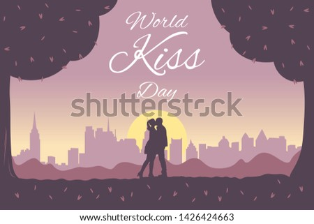kiss day banner vector