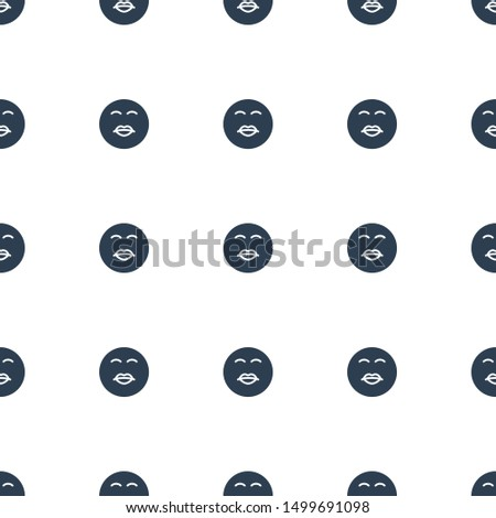 kiss emot icon pattern seamless white background. Editable filled kiss emot icon. kiss emot icon pattern for web and mobile.