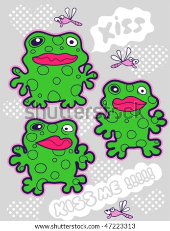 kiss frog   vector illustration