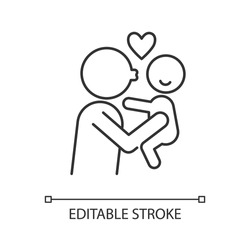 Kissing child on cheek linear icon. Showing affection. Express parental love to baby. Thin line customizable illustration. Contour symbol. Vector isolated outline drawing. Editable stroke