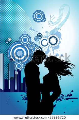 kissing images of couples. stock vector : Kissing couple.