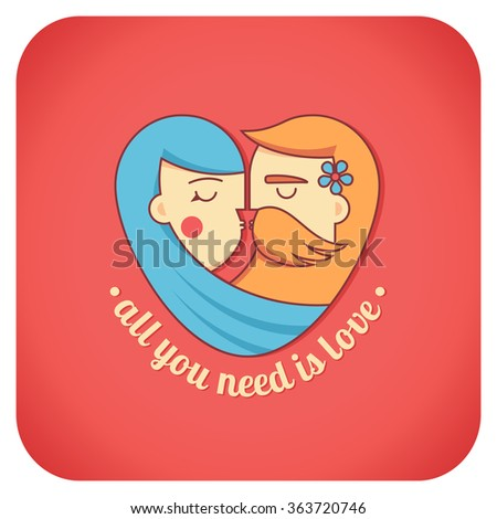 Kissing couple flat illustration. Man and woman logo in the shape of a heart. Valentine's day, psychology of family relations, wedding label and icon element. All you need is love lettering.