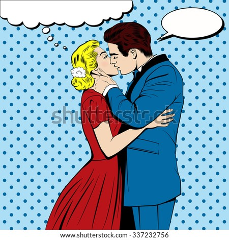 kissing couple in the pop art