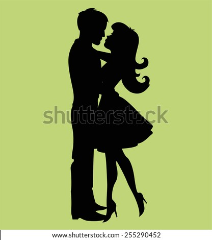 kissing couple silhouette