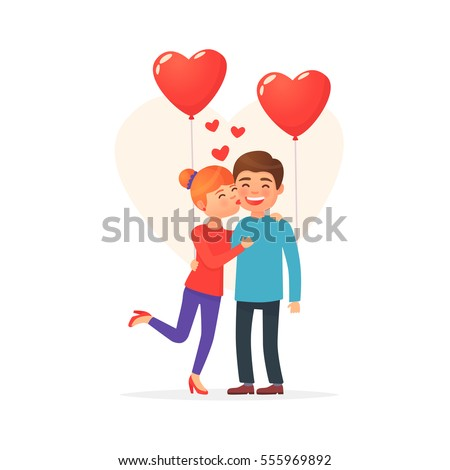 Kissing couple. Valentine's Day. Cute couple. Love day. Couple with balloon heart. Vector illustration in cartoon style