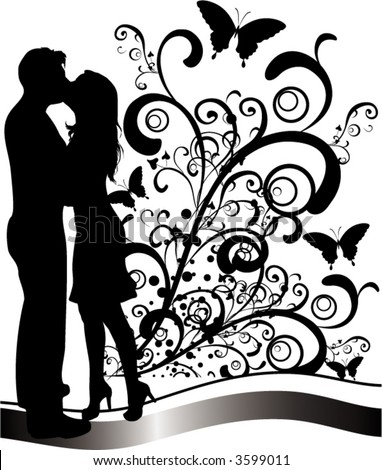 couple kissing drawing. stock vector : kissing couple