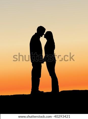 kissing couple vector