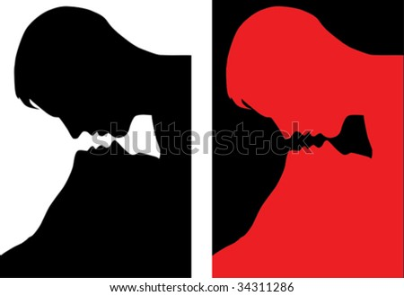 Kissing couple. Vector images scale to any size;