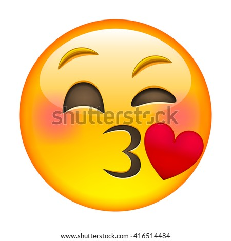 kissing emoticon isolated