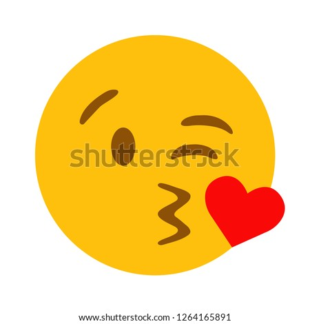Kissing face with heart emoji vector