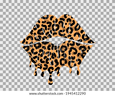 Kissing lips with leopard print isolated on a transparent background for poster or banner. Vector illustration.  Сток-фото ©