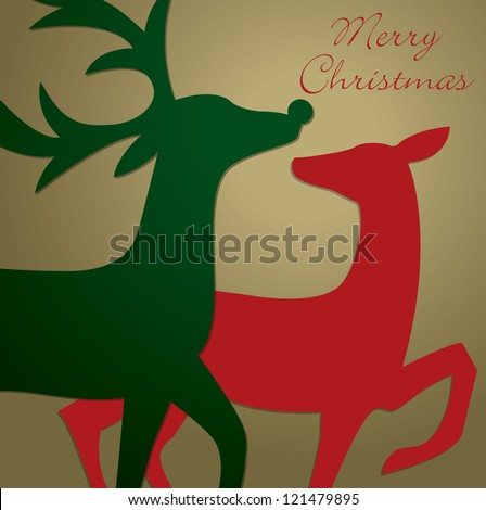 Kissing reindeer Christmas card in vector format.