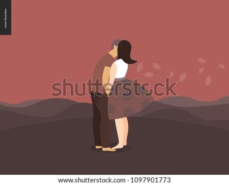 kissing scene   flat cartoon