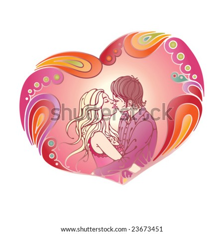 Kissing young couple in beautiful abstract composition