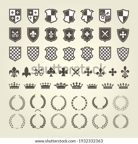 Kit of coat of arms for knight shields and royal emblems with laurel wreath, heraldry blazon elements, vector Сток-фото ©